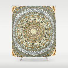 Pug Yoga Medallion Shower Curtain