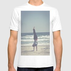 Yoga  SMALL White Mens Fitted Tee