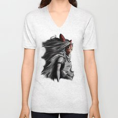 Miyazaki's Mononoke Hime Digital Painting the Wolf Princess Warrior Color Variation Unisex V-Neck