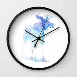 Wall Clock - Blue Watercolor Moose - Pati Designs