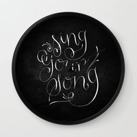Sing Your Song // White on Black Wall Clock