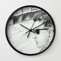 B/W I am not famous Wall Clock