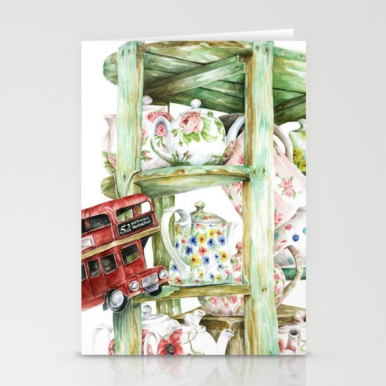 Alice's Teapots Stationery Card