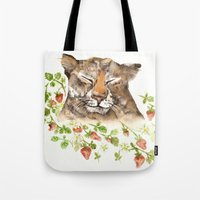 Tiger In Strawberries Tote Bag