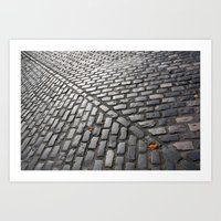 Leaves on cobblestones Art Print