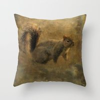 Vintage Squirrel Throw Pillow