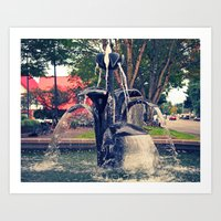 Art Print featuring Autumn fountain by Vorona Photography