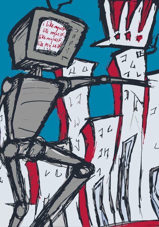 Manhattan vs. Depressed Giant Robot Art Print