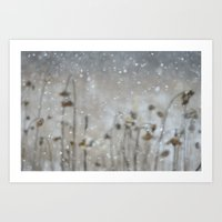 Sunflowers In The Snow Art Print