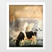 Cow with Wings Art Print