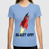 Blast Off! Womens Fitted Tee Tri-Blue SMALL