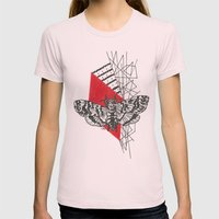 Hawkmoth Abstract Womens Fitted Tee Light Pink SMALL