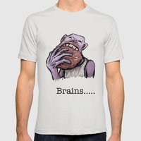 Brains.... Mens Fitted Tee Silver SMALL