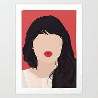 Zooey Deschanel Portrait Art Print