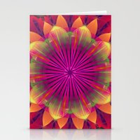 Magical colourful fantasy flower Stationery Cards