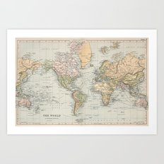 Vintage Map of The World (1892) Art Print