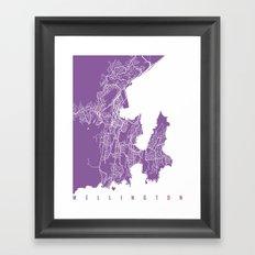 Wellington Map Lilac Framed Art Print