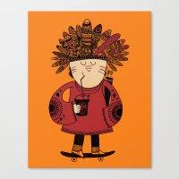 Native American Skater Boy - Orange Canvas Print