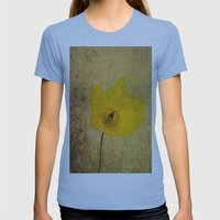 Antique Yellow Flower Womens Fitted Tee Athletic Blue SMALL