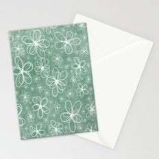 Doodle Flowers Green Stationery Cards