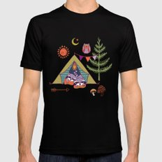 Racoon's Campout Black Mens Fitted Tee SMALL