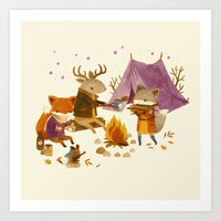 Critters: Fall Camping Art Print