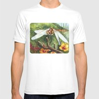 Amber Dragonfly Mens Fitted Tee White SMALL