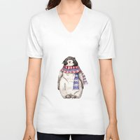 V-neck T-shirt featuring Baby Penguin in Red and Blue Scarf. Winter Season by Goosi