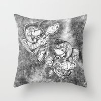 Petite Astronauts  Throw Pillow