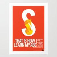 Animal Alphabet S Art Print