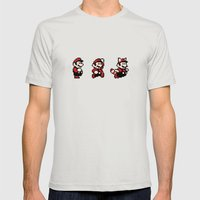 Super Mario Bros 3 Mens Fitted Tee Silver SMALL
