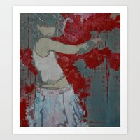 'Block' (#girl painting) Art Print