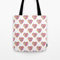Rainbow Heart Pattern Tote Bag