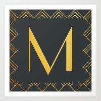 Art Deco Monogram - M Art Print
