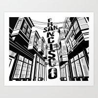 Cities in Black - San Francisco Art Print