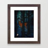 Winter Woods At Night Framed Art Print