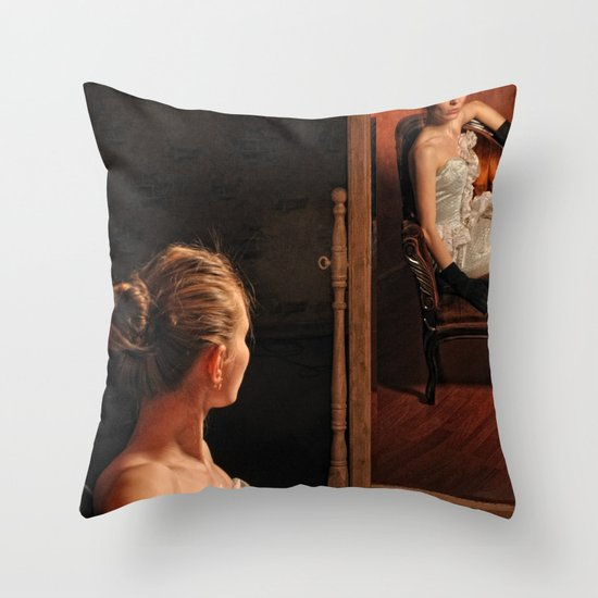 Victoria and the mirror Throw Pillow