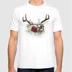 Floral Antlers VI Mens Fitted Tee SMALL White