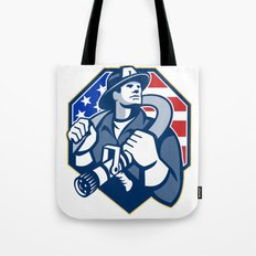 American Fireman Fire-fighter Fire Hose Retro Tote Bag