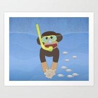 Sock Monkey Snorkeling Art Print