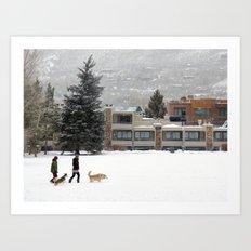 Snow Dogs I Art Print