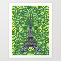 Eiffel Tower Drawing Meditation - purple/yellow/teal Art Print