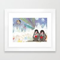 Baby Penguins Framed Art Print