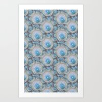 Teal Grey Blossoms Art Print