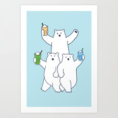 Summer float bears Art Print