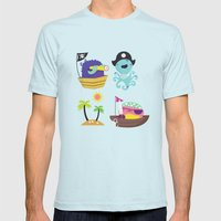 Pirates Mens Fitted Tee Light Blue SMALL