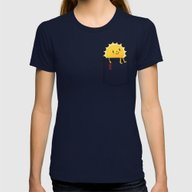 Pocketful Of Sunshine Womens Fitted Tee Navy MEDIUM