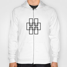 White outline rectangles on black Hoody