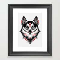 American Indian wolf Framed Art Print