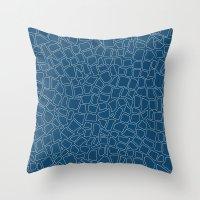 British Mosaic Blue Prin… Throw Pillow
